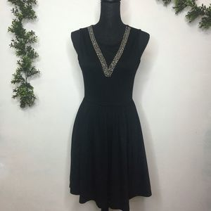H&M Black Illusion Neck Beaded Dress